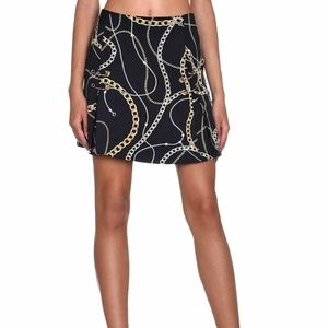 Guess Skirt Perla Printed Chains Black Women Sz 30